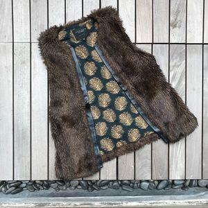 SANCTUARY Brown Faux Leather/Fur Sleeveless Vest